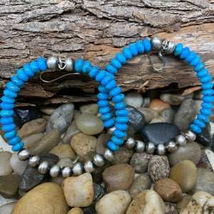 Load image into Gallery viewer, 6mm Sterling Silver Navajo Pearl with Genuine Turquoise beaded hoop earrings