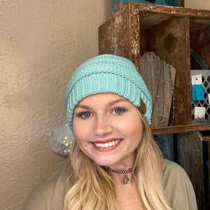 Load image into Gallery viewer, Mint Blue CC Beanie