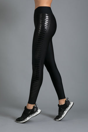 Ultra High  Crocodile Legging Black Patent