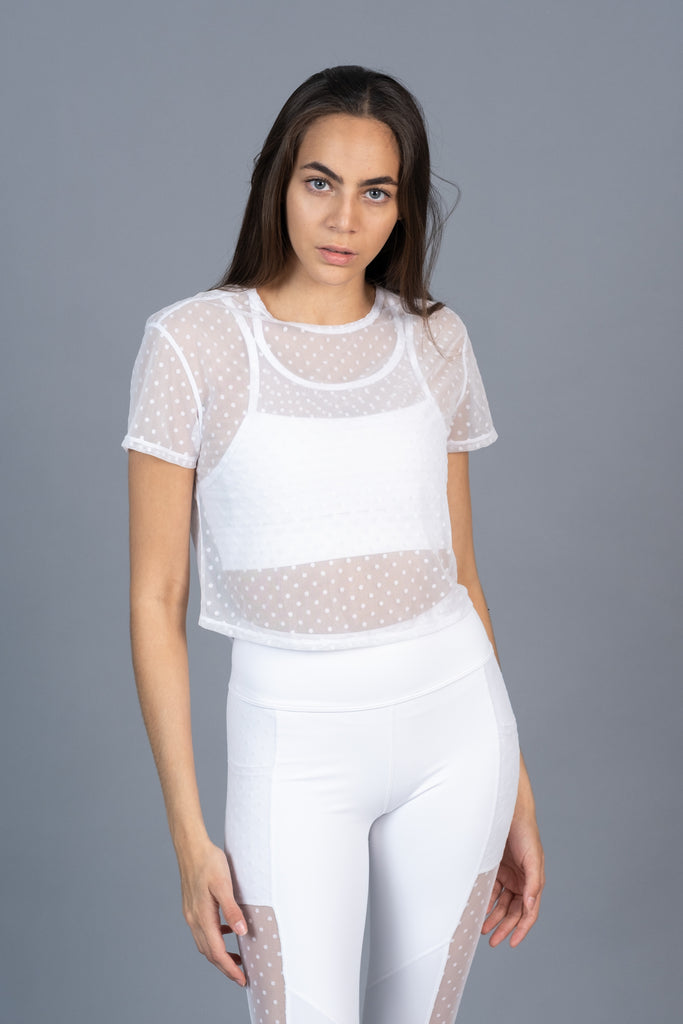 Mesh Tie Back Tee White Dot