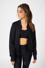 Silk Bolt Bomber Jacket (Black/Black Patent)
