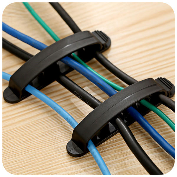 Plastic Cord Wire Line Organizer Clips Line USB Charger Cable Holder Desk -3PCS - Black