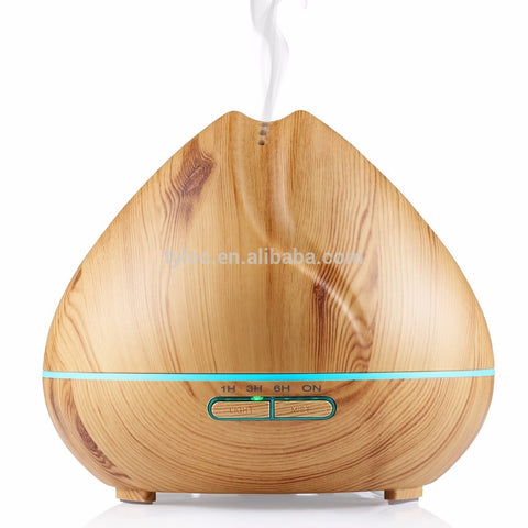 400ml Humidifier Aroma Essential Oil Diffuser Ultrasonic Air with Wood Grain 7 Color Changing LED Lights for Office Home Bedroom (Light Wood)