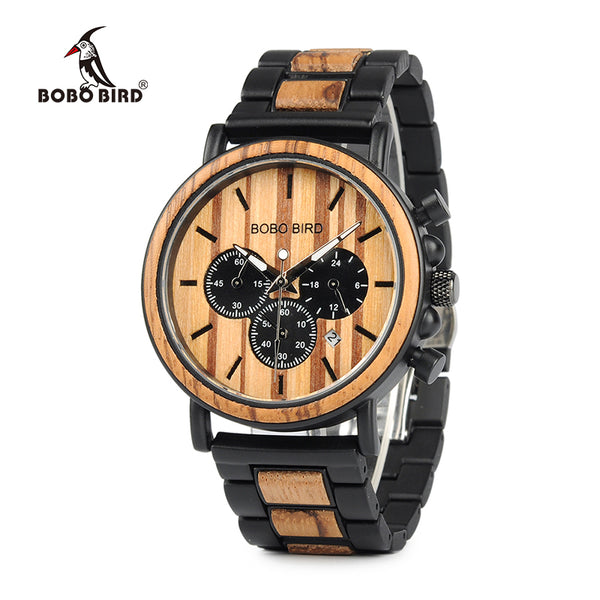 BOBO BIRD Wooden Mens Watches Chronograph & Date Display Stop Water Resistance