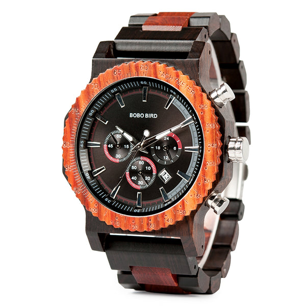 Big face luxury stop watch custom logo wood wristwatch fashion lovers wood watch