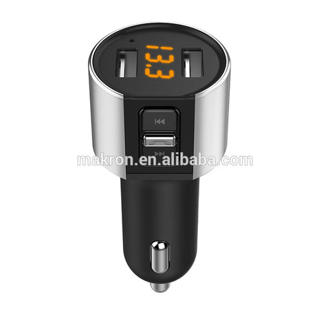 Bluetooth Car Kit Handsfree FM Transmitter Wireless A2DP Support USB Disk MP3 Player Dual USB 5V/3.4A Car Charger