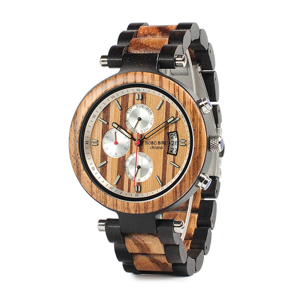 Classic handmade wood watches for men with Chronograph quartz watches