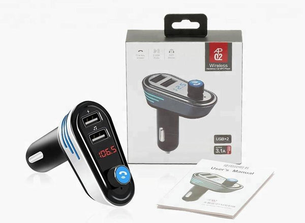 Dual USB car fm transmitter charger hands free wireless Bluetooth