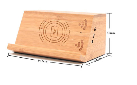 2 in1 wooden wireless charger with speaker
