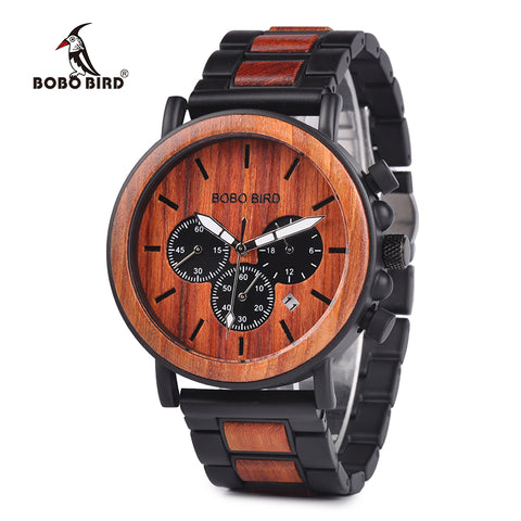 Wood Men Watch Top Brand for Luxury Stylish Watch Wood Stainless Steel Chronograph Military