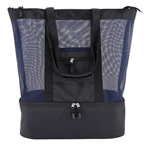Mesh Beach Bag Tote with Built-in Insulated Cooler