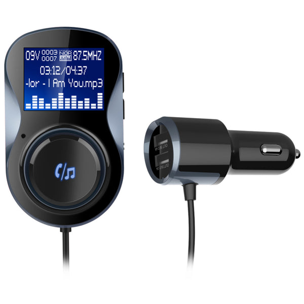 Wireless Bluetooth V4.1 +EDR Car Charger With FM Transmitter,HandsFree Bluetooth Car Kits With LCD Display