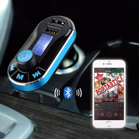 Wireless Handsfree Bluetooth FM Transmitter / Bluetooth Receiver With MP3 Player, Dual 2.1A USB Charger