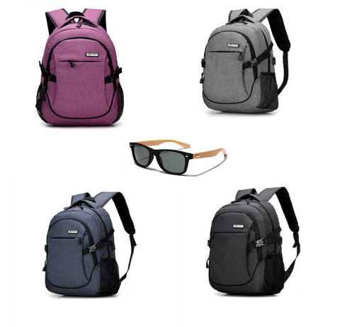 Laptop Backpack with USB Charging Port and Bamboo sunglasses bundle