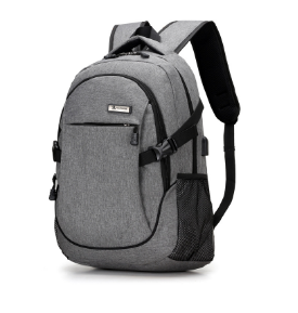 Men Grey Shcool Bag School Backpack USB Battery Charging Backpack