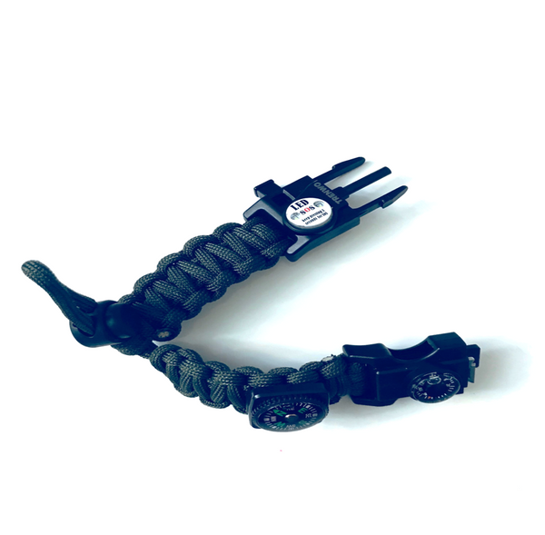 20 in 1 Multi functional adjustable 550lb paracord SOS LED  survival bracelet