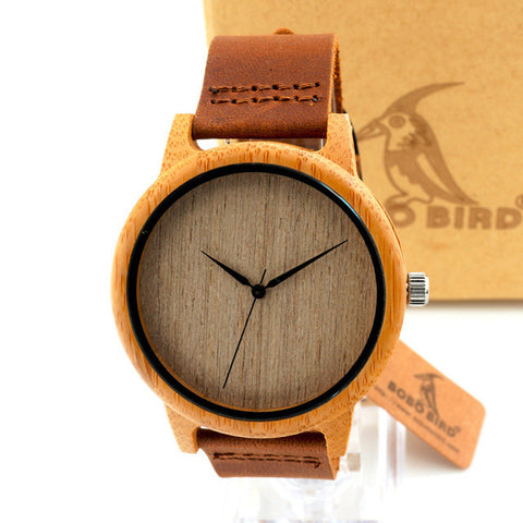 BOBO BIRD Natural Bamboo Watch With Genuine Leather Band + Quartz Movement