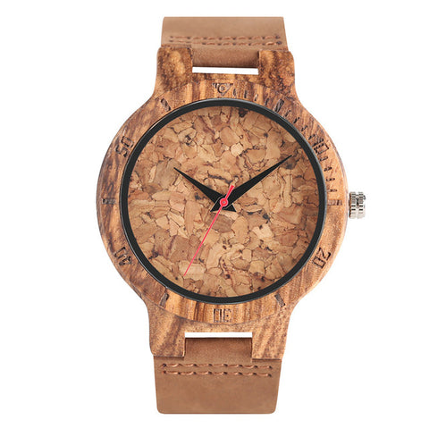 Wooden Watch Handmade Beer Cork Dial Unisex Novel Deco Quartz Wristwatch