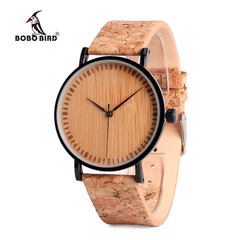 BOBO BIRD Wooden Dial Watches Cork Strap Unique Wood  Wristwatch for Men and Women