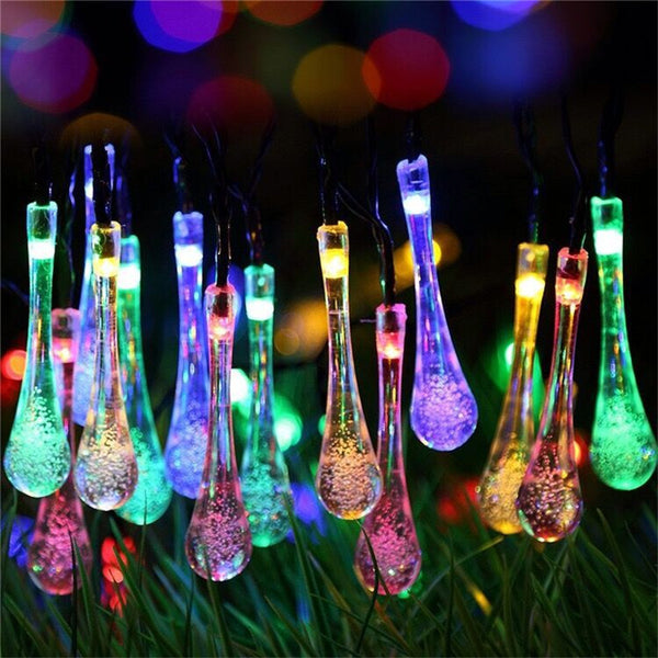 6m 30 LED Solar Led String Lights Water Drop 8 Modes Waterproof