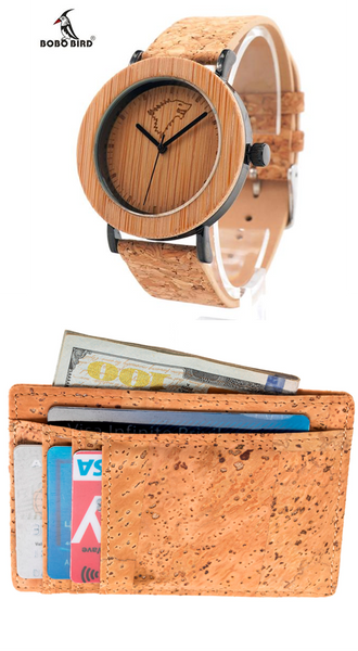 FREE!! RFID Pocket Cork Wallet  with a buy of this BOBO BIRD Bamboo and cork Watch
