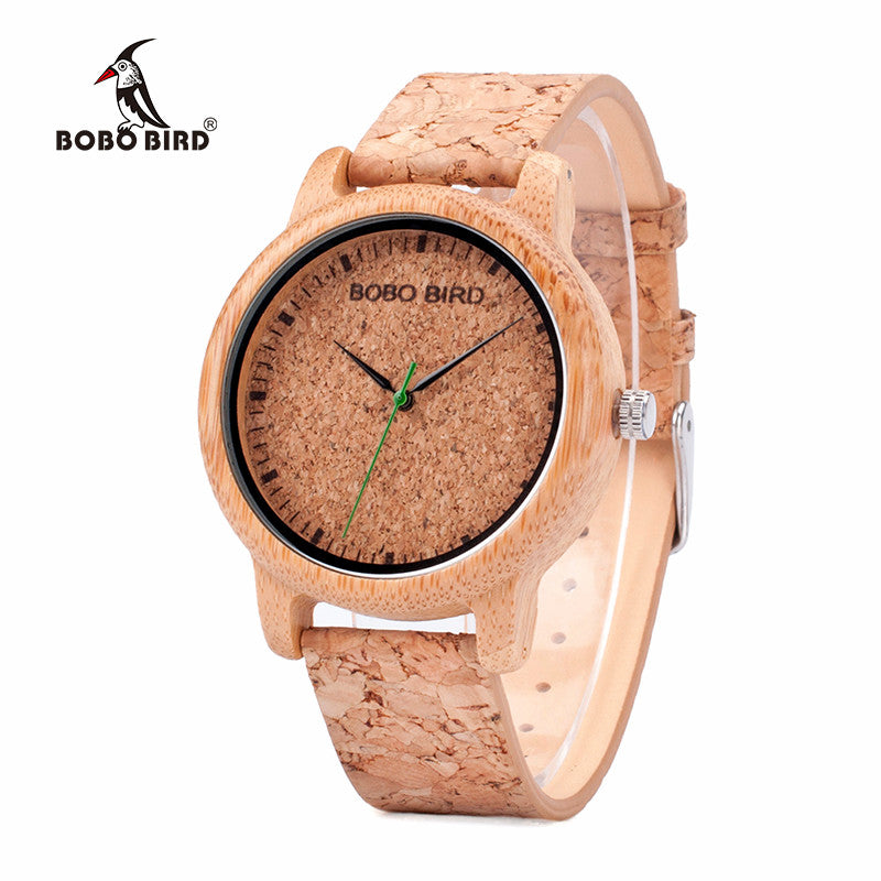 BOBO BIRD Watches Lovers Bamboo Watches Cork Strap Quartz Wristwatche