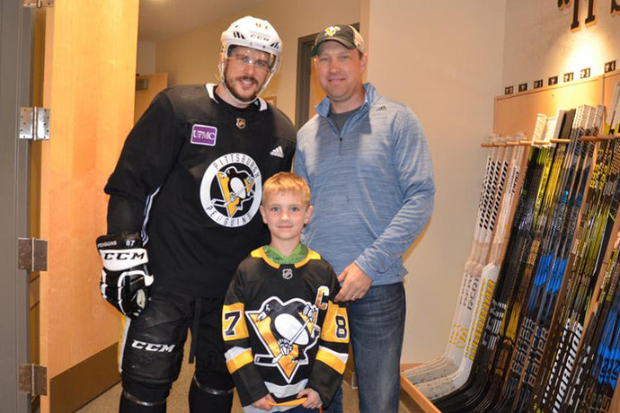 Crosby Delivers Equipment to Child that Lost Everything in Fire