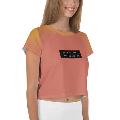 Summer Peach Skater Crop Tee (skateboarding)