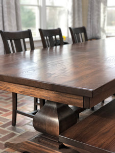 Devin Pedestal Table - Red Oak