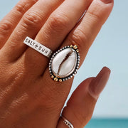 Golden Crowned Cowrie Ring