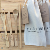 Carry With Me Bamboo Cutlery Set + Drinking Straw ~ 51raw