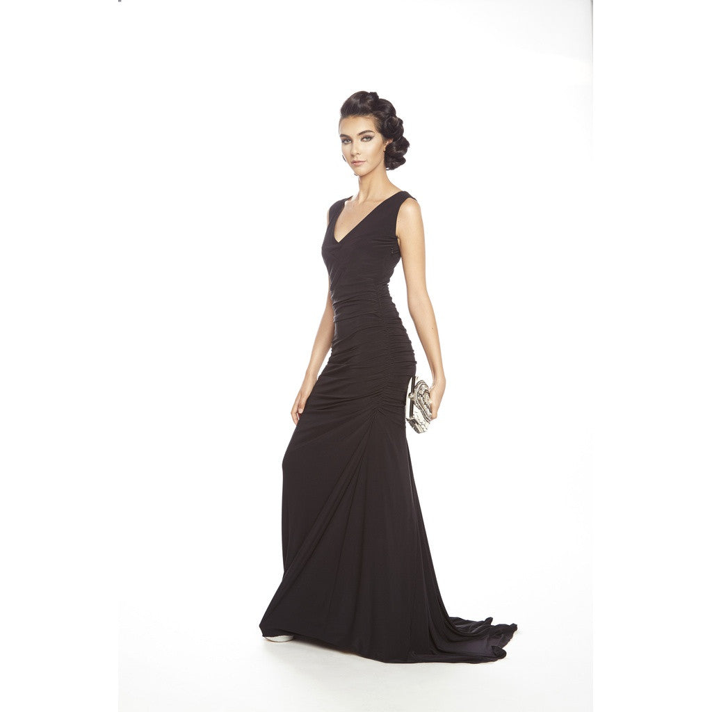 V front and back soft jersey gown