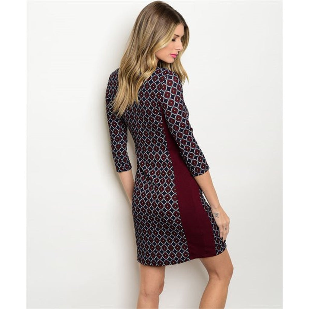 Women's burgundy Cocktail  Party Dress With Slit