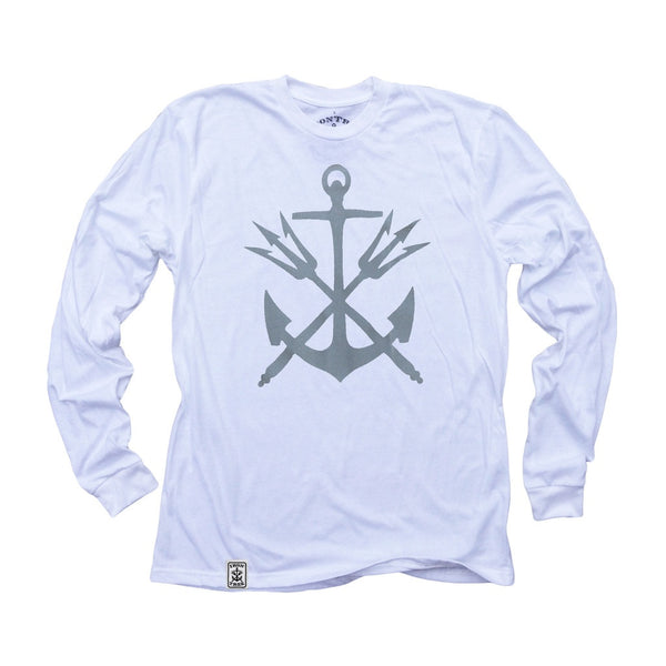 Anchor & Tridents: Organic Fine Jersey Long Sleeve T-Shirt in White
