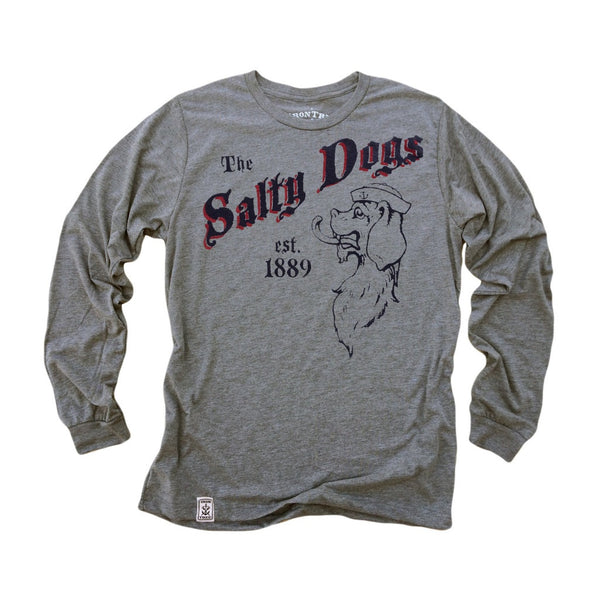 The Salty Dogs: Tri-Blend Long Sleeve T-Shirt in Heather Grey
