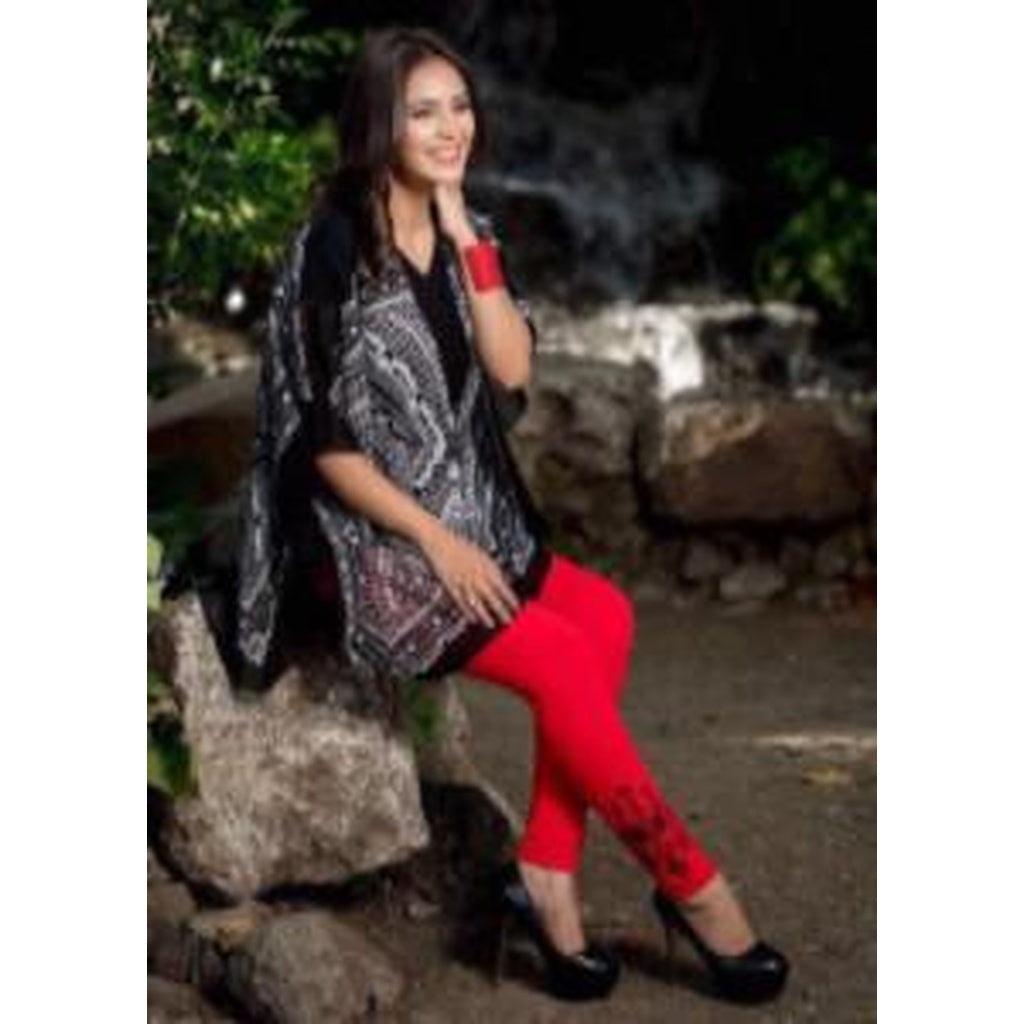 Gethuda Red Black Embroidered Designer Leggings