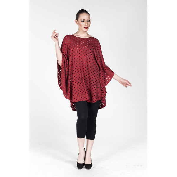 Plus size Red Summer Casual Sheer Dolman Tunic