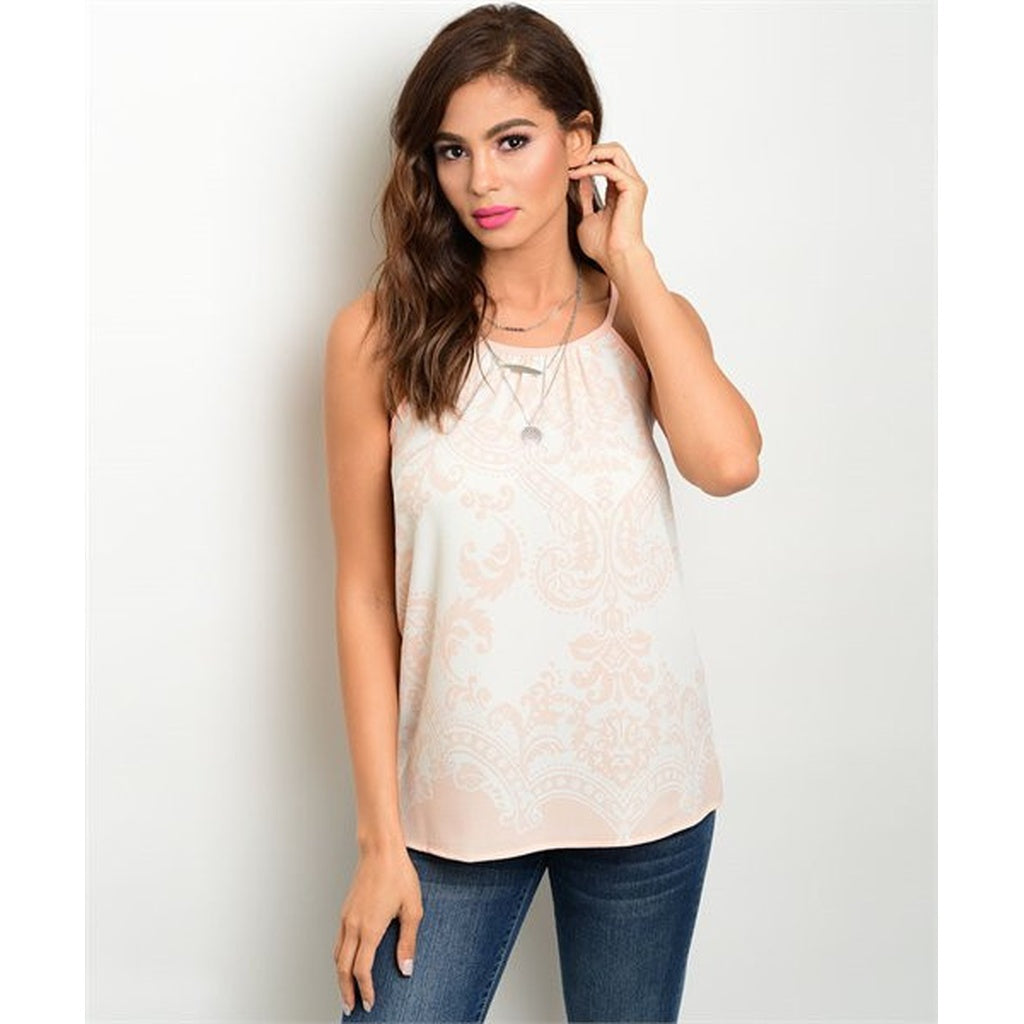 Women's Sleeveless Light Pink Printed Blouse