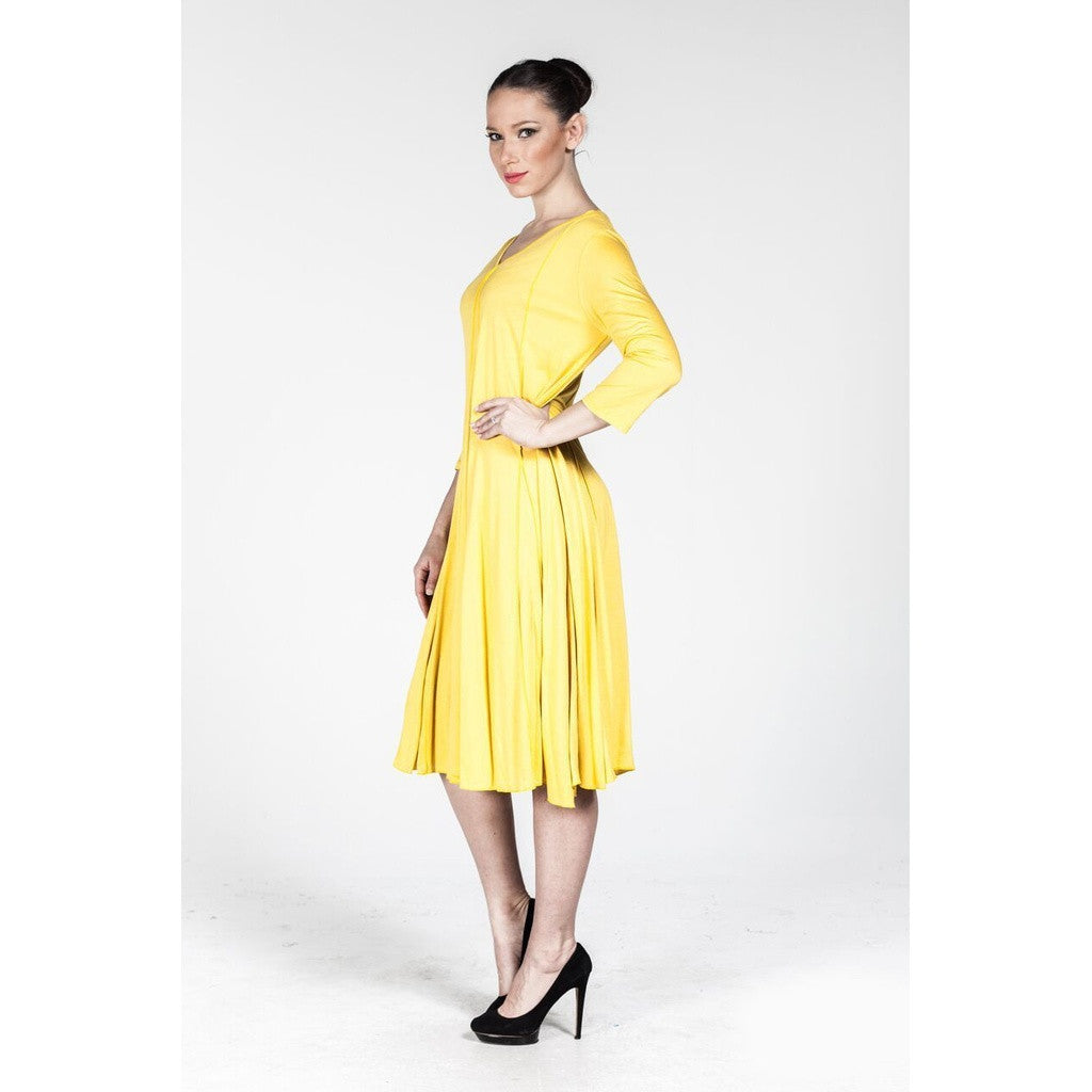 Plus size Yellow V Neck Dress