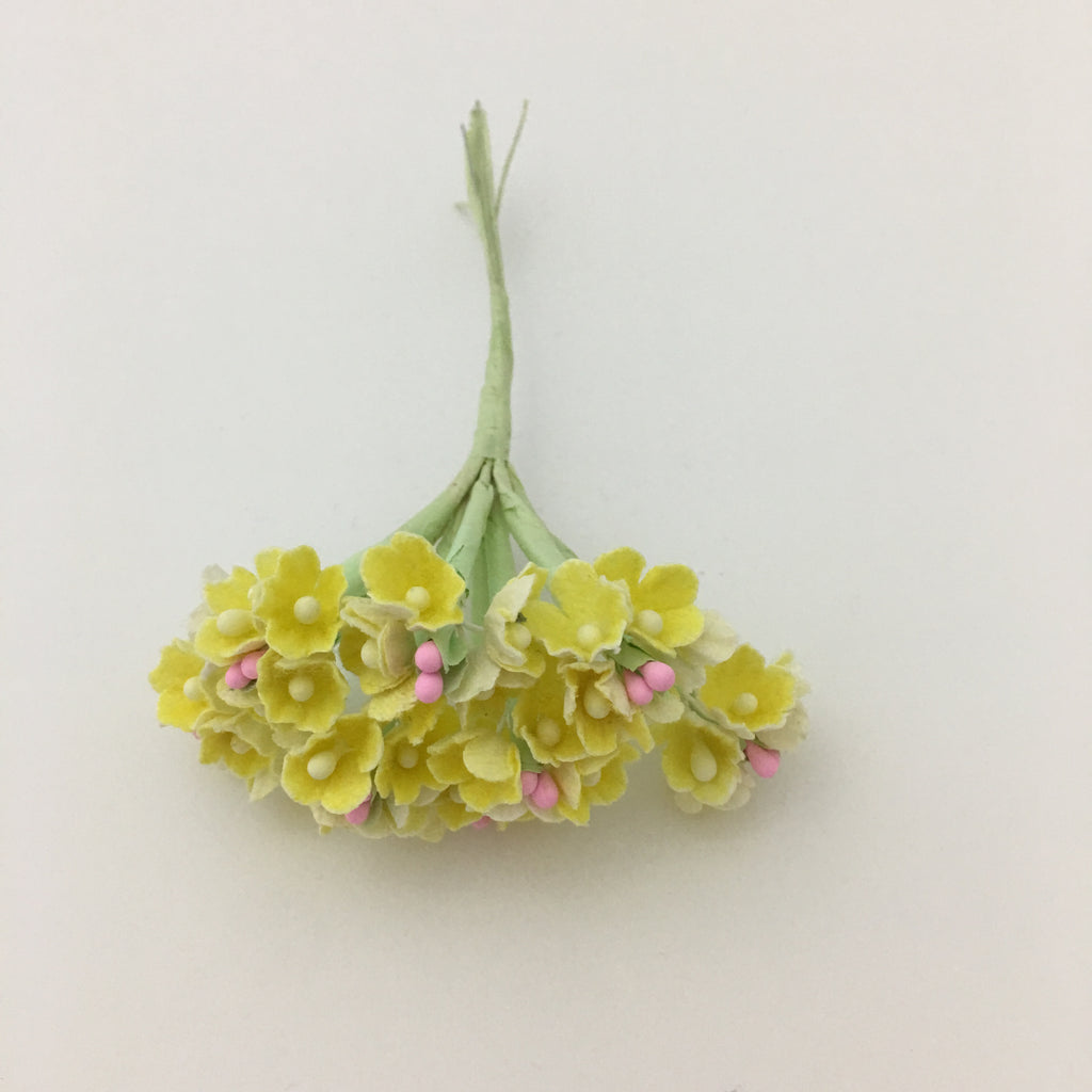 Forget-Me-Not Wired Millinery Flowers (Yellow)