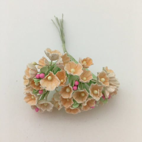 Forget-Me-Not Wired Millinery Flowers (Peach)