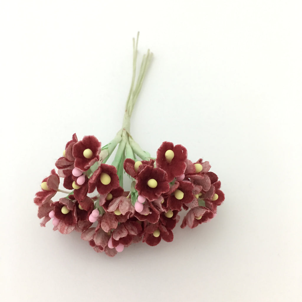 Forget-Me-Not Wired Millinery Flowers (Burgundy)