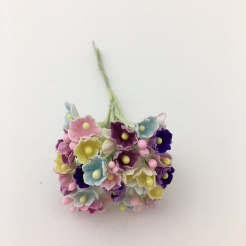 Forget-Me-Not Wired Millinery Flowers (Mixed  Brights)