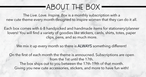 August Live  Love  Inspire  Box | Monthly Subscription Box for
