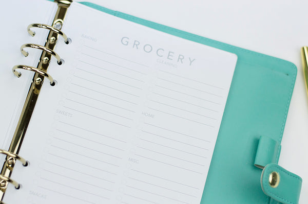 Grocery List Planner Inserts: A5 Size - The Stationery Muse