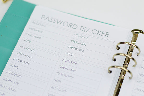 Password Tracker Planner Inserts: A5 Size - The Stationery Muse