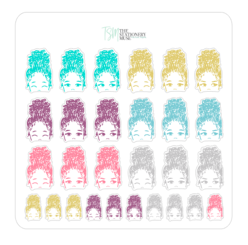 Bun Girl Confetti Expressions Sticker Sheet | Limited Edition