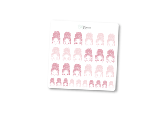 Pink Bun Girl Expressions Sticker Sheet | Limited Edition Breast Cancer Collection