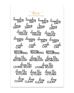 Cleaning Script Sticker Sheet - Black - The Stationery Muse