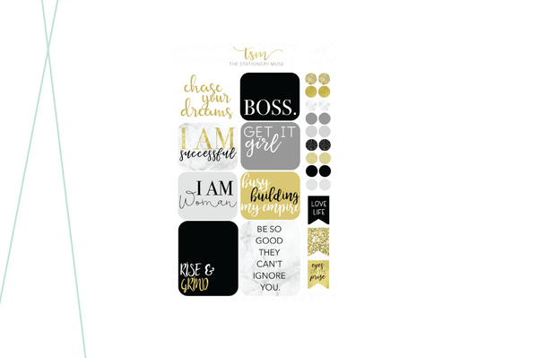 """BOSS"" Functional Sticker Kit - The Stationery Muse"